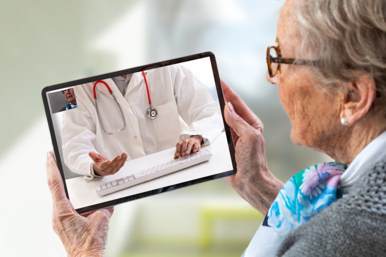 doctor patient communicating with the telehealth option